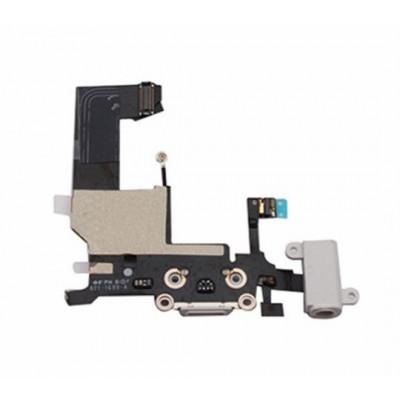 Conector De Carga Cable Plano + Micrófono Para Apple Iphone 5 Blanco