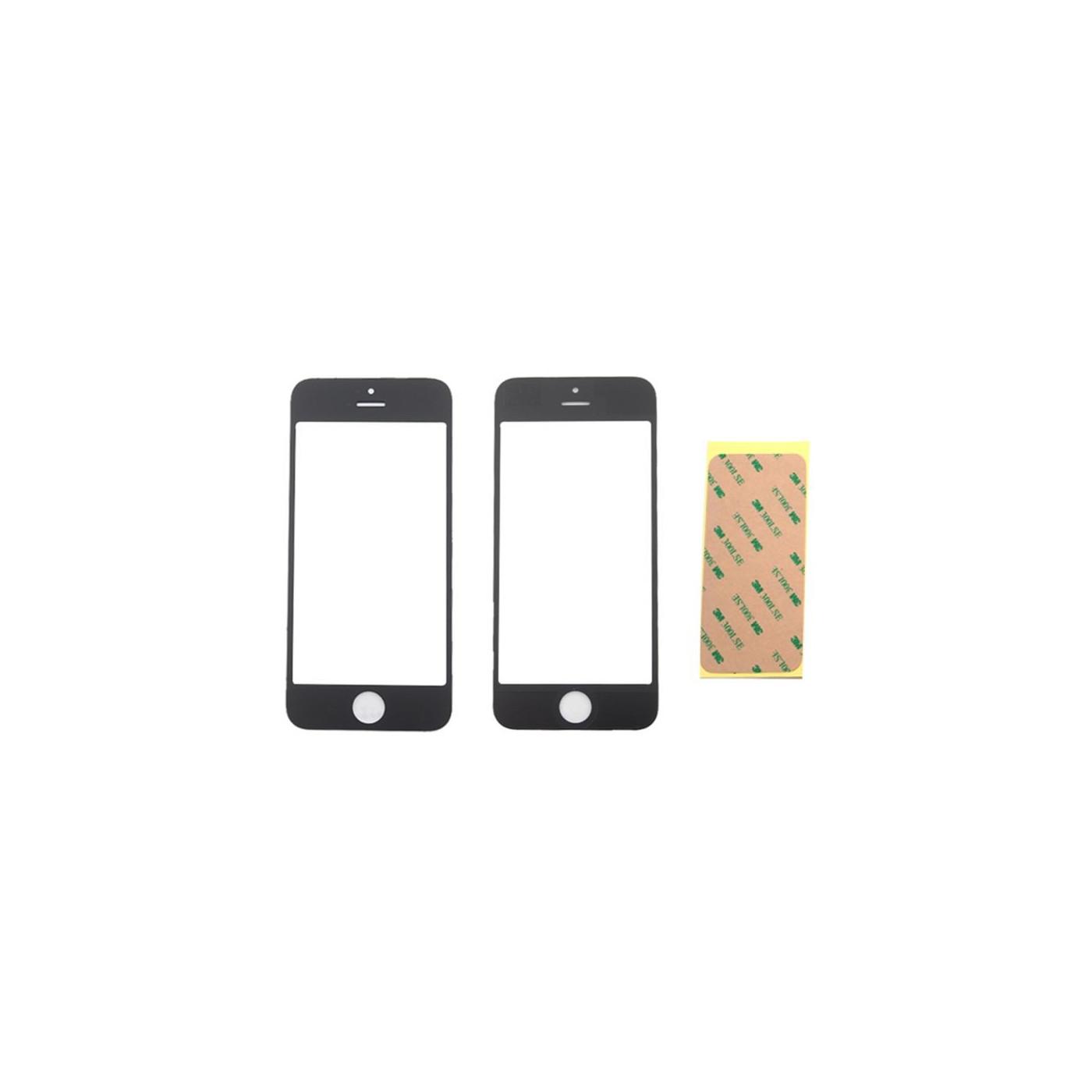 Vetrino vetro iphone 5 5s 5c nero schermo touch anteriore frontale + adesivo