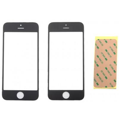 Vetrino Per Iphone 5 5S 5C Nero Schermo Touch Anteriore Frontale + Adesivo