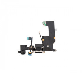 Conector de carga plana y flexible para iPhone 5 5G negro, base de audio, micrófono