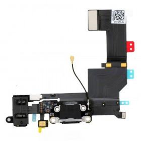 Conector de carga plana y flexible para micrófono de puerto de audio negro iPhone 5S