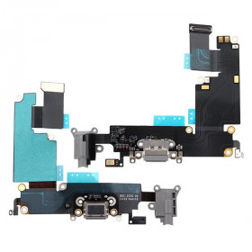 Conector de carga plana y flexible para iPhone 6 Plus, micrófono de base gris