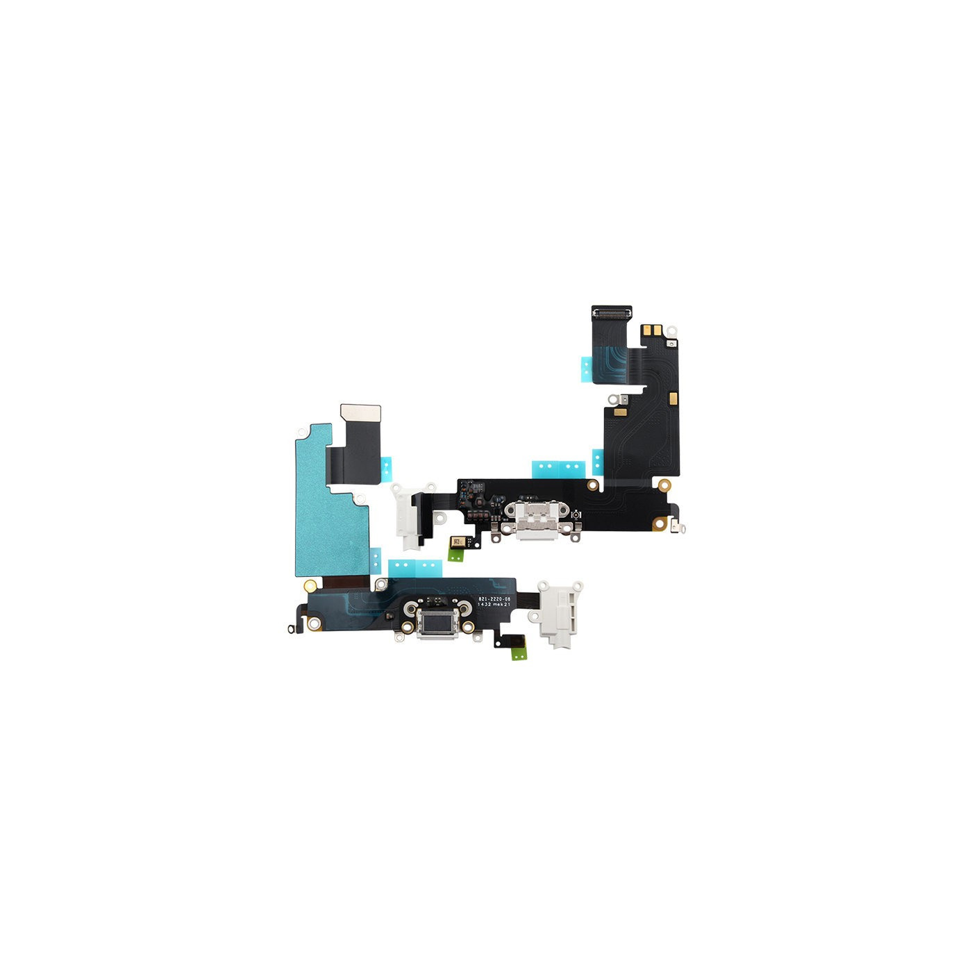 Conector de carga plana y flexible para iPhone 6 Plus, base de micrófono blanco