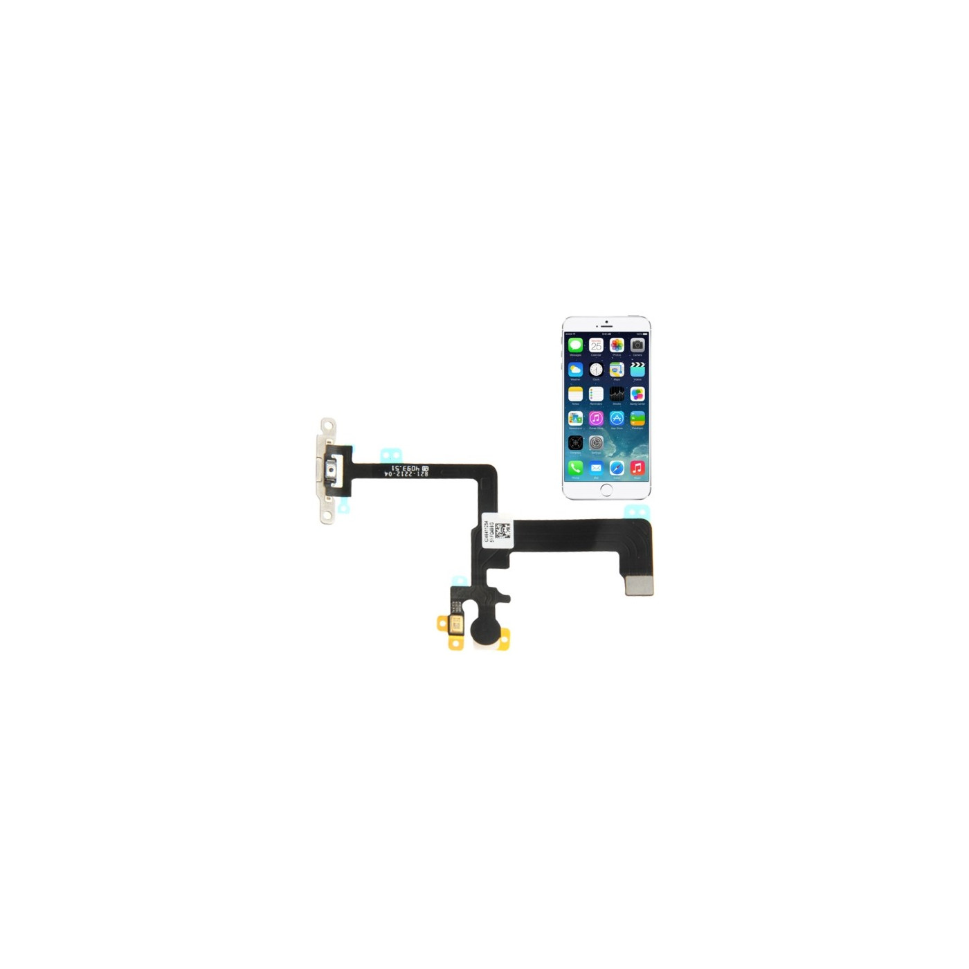 FLAT FLEX for Apple iPhone 6 BUTTON POWER BUTTON ON OFF FLASH MICROPHONE