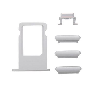 Kit Tasti 3 In 1 Volume Power Per Iphone 6S Silver + Porta Scheda Sim