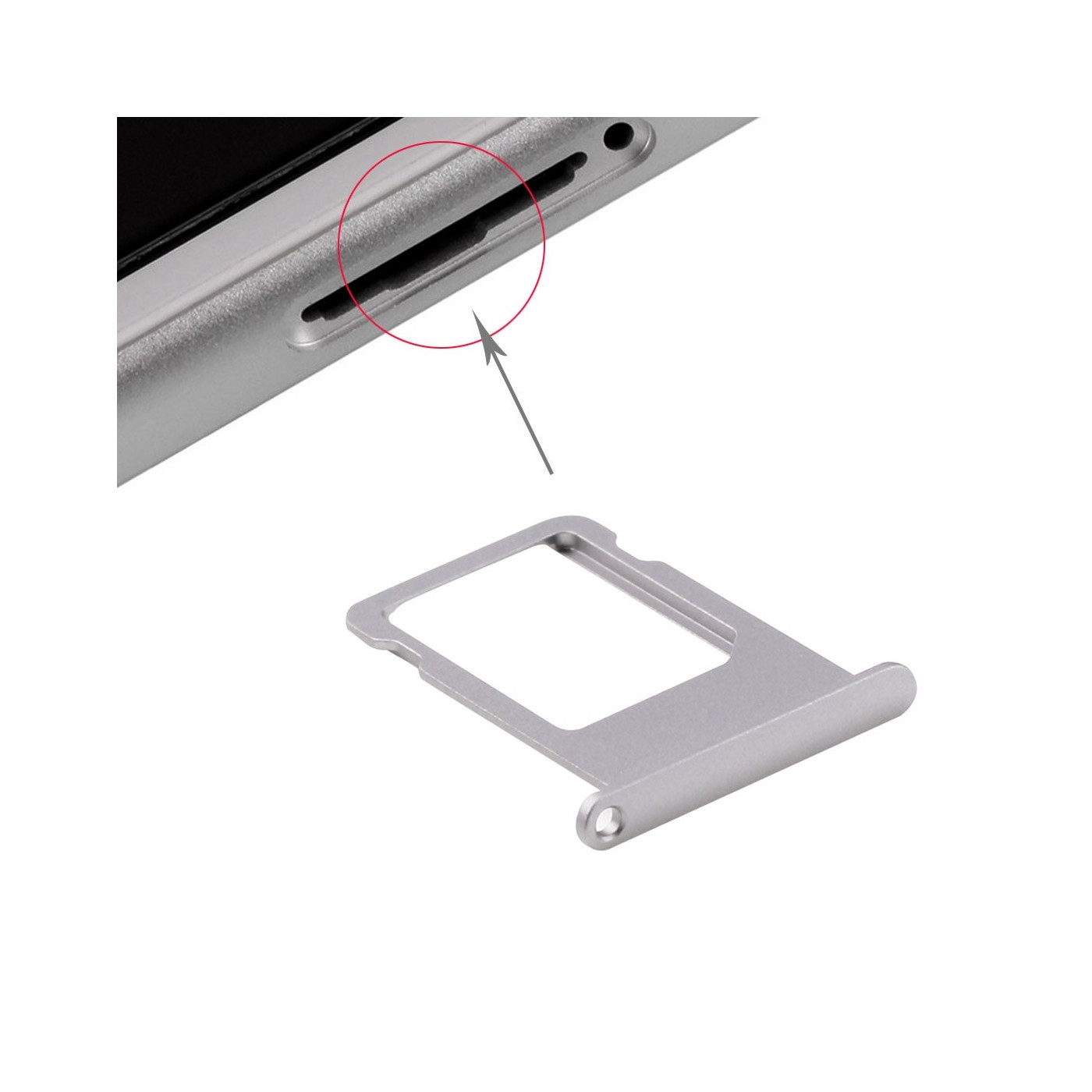 Porta scheda sim per iPhone 6s Plus grey carrello slitta