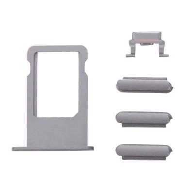 Kit Tasti 3 In 1 Volume Power Per Iphone 6S Plus Grey + Porta Scheda Sim