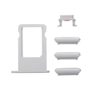 Kit Tasti 3 In 1 Volume Power Per Iphone 6S Plus Silver + Porta Scheda Sim