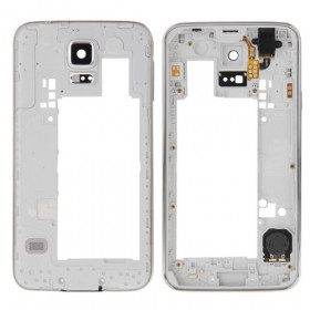 Marco trasero del marco para Galaxy S5 - G900 con jack de altavoz con botón de encendido
