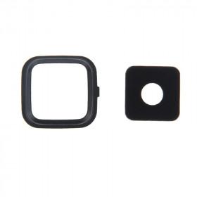 Lente de cámara Lente de cámara + Samsung Note 4 N910 Cubierta de marco negro