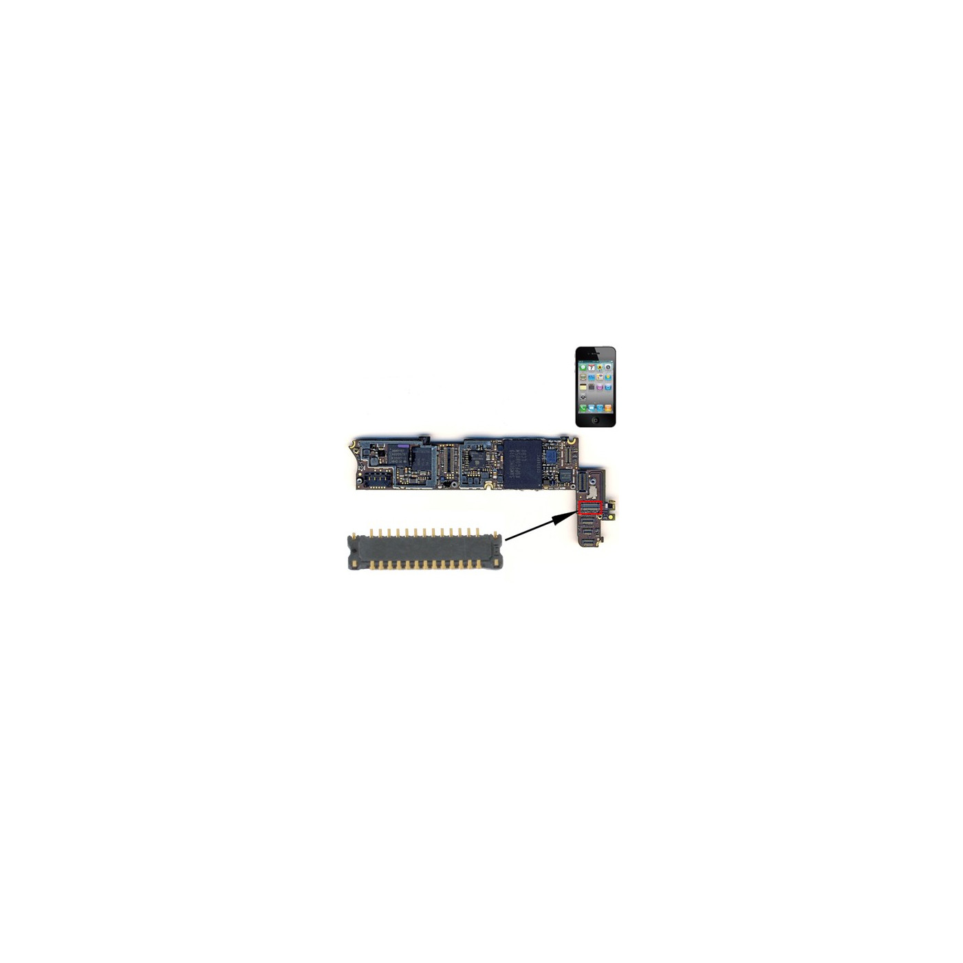 Connettore LCD FPC per iPhone 4S schermo dispaly da saldare