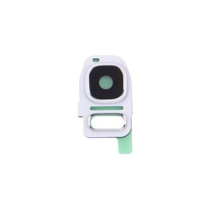 Lentille d'objectif de caméra cadre de cadre blanc Samsung Galaxy S7 G930F