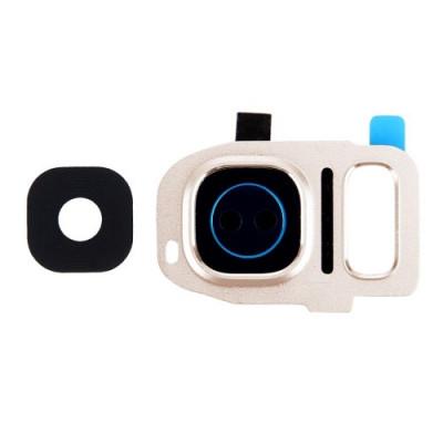 Lente Vetrino Fotocamera Gold + Frame Cornice Per Samsung Galaxy S7 Edge G935F