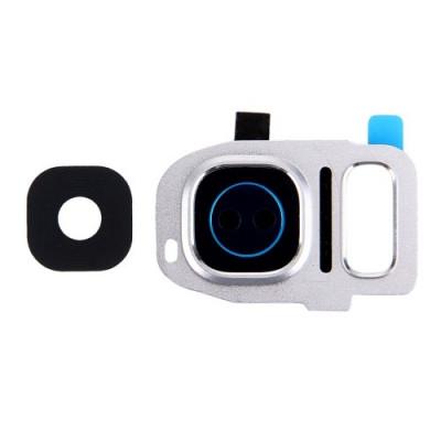 Lente Vetrino Fotocamera + Frame Cornice Silver Per Samsung Galaxy S7 Edge G935F