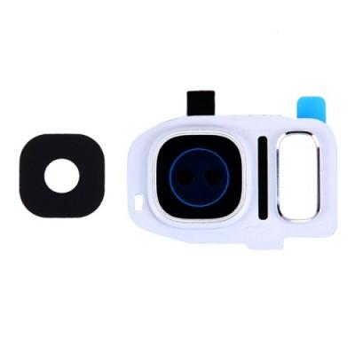 Lente Vetrino Fotocamera + Frame Cornice Bianco Per Samsung Galaxy S7 Edge G935F