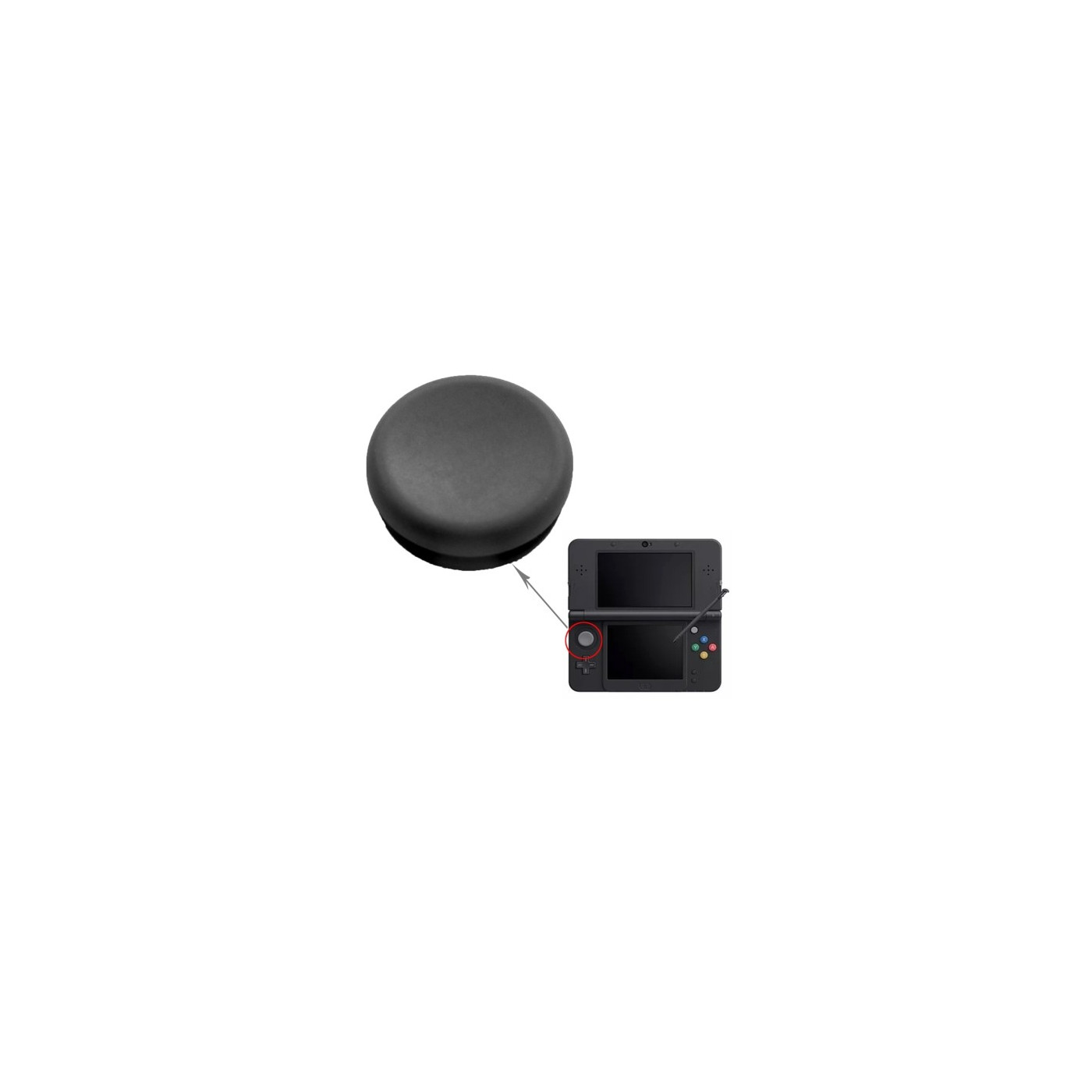 LEVER SPARE KEYS ANALOG CONTROLLER BLACK 3DS Gamepad