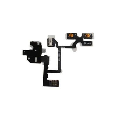 Botones De Audio Con Cable Plano Para Apple Iphone 4 Blanco