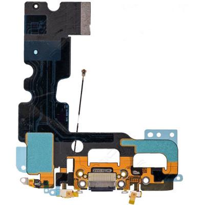 Conector de carga plana y flexible para micrófono de puerto de audio negro iPhone 7