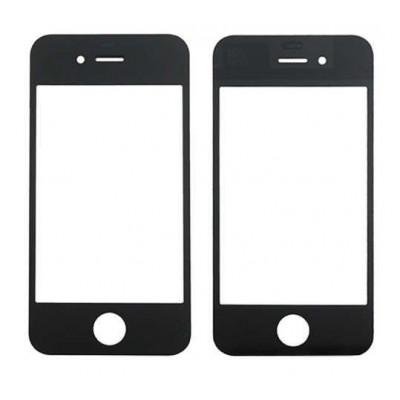 Vetro vetrino frontale per apple iphone 4 nero touch screen