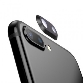 LENTE CAMERA PER IPHONE 8 PLUS NERO VETRO VETRINO BACK POSTERIORE + FRAME