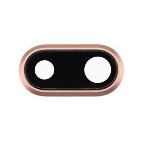 LENTE CAMERA PER IPHONE 8 PLUS GOLD VETRO VETRINO BACK POSTERIORE + FRAME