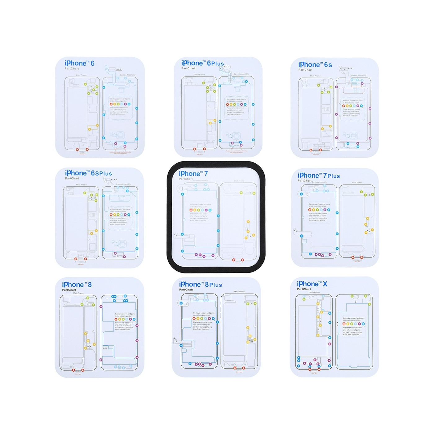 7 in 1 magnetic carpet map screws Iphone X - 8 - 7 - 6s - 6 and PLUS models