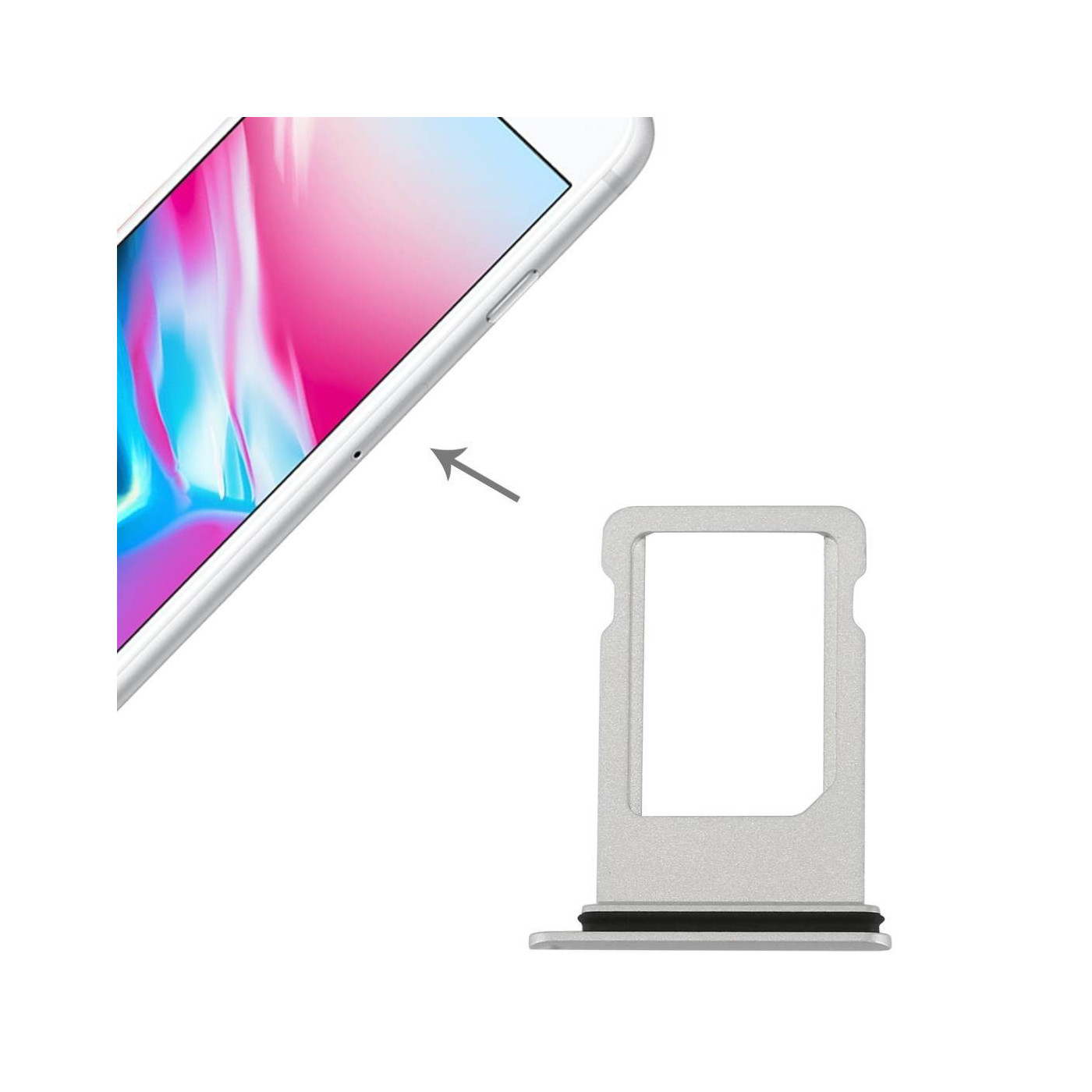 PORTA SIM SCHEDA Apple iPhone 8 SILVER SLOT SLITTA CARRELLO VASSOIO RICAMBIO