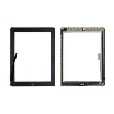 Touch screen for apple ipad 3 black glass screen + adhesive already installed
