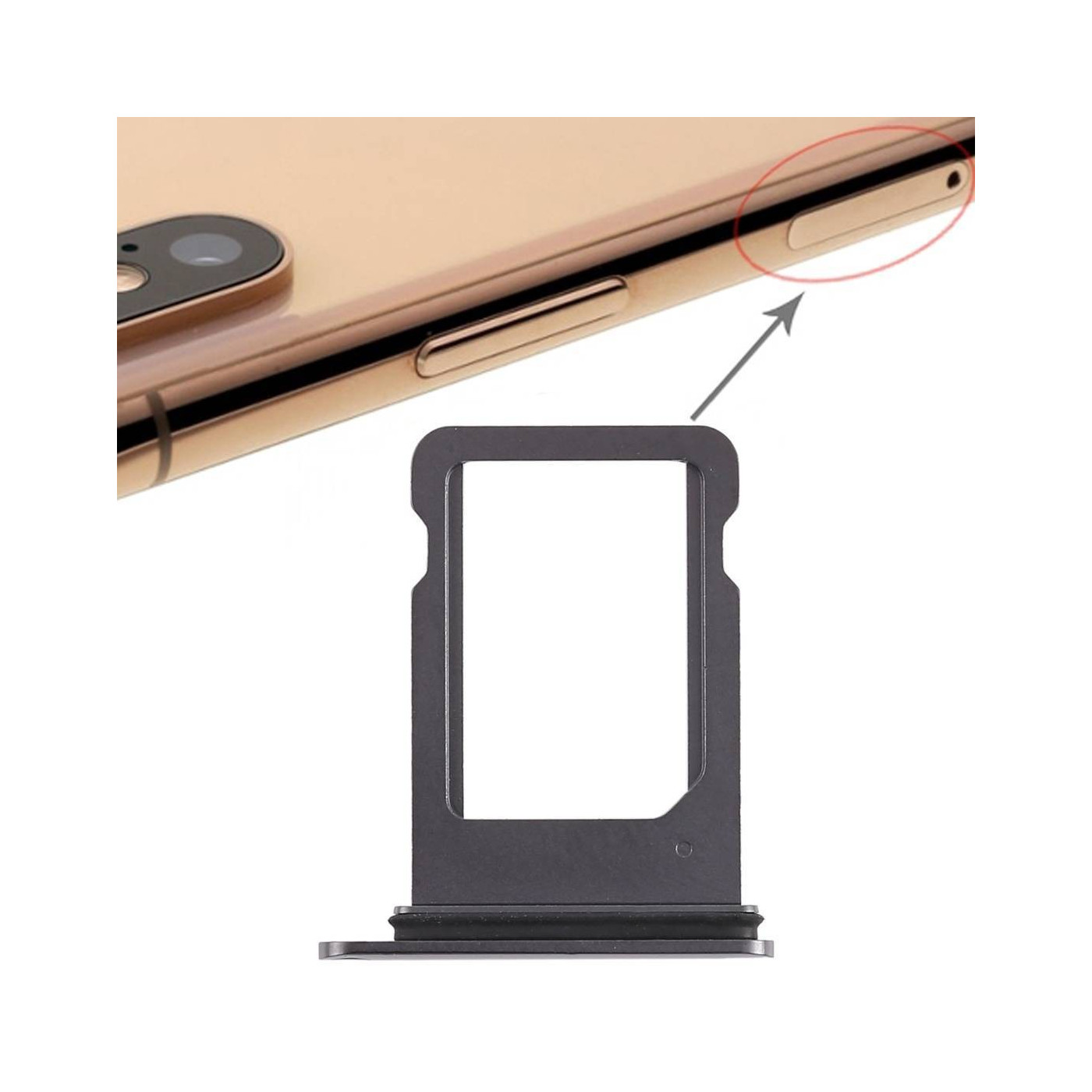 PORTA SIM SCHEDA Apple iPhone XS NERO SLOT SLITTA CARRELLO VASSOIO RICAMBIO