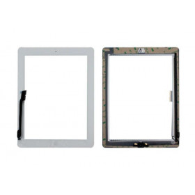 Touch screen for apple ipad 4 white glass screen + adhesive already installed