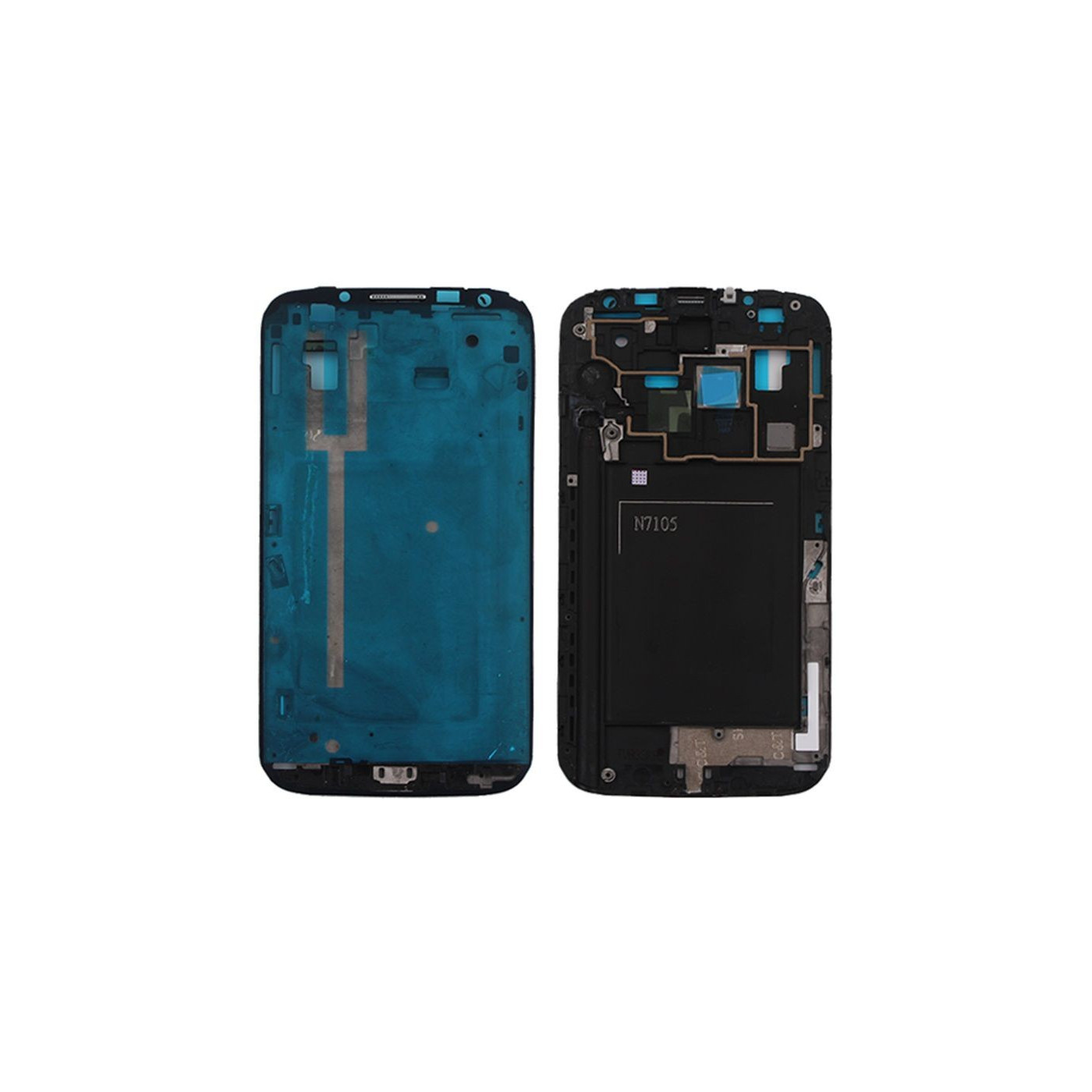 Frame Frame Shell Samsung Galaxy Note II LTE N7105 Marco central plateado